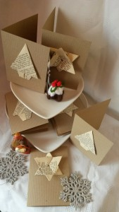 Recycled book Christmas cards